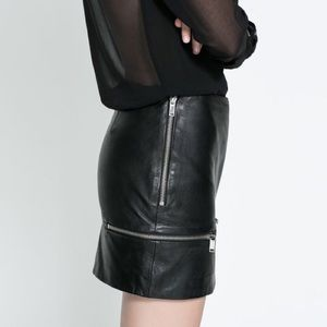 Zara Leather Mini Skirt with Zipper Accents